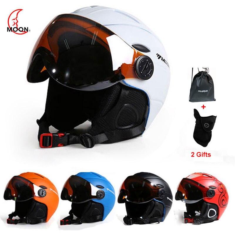 MOND Berufs Halbe-abgedeckt CE Ski Helm Integral geformten Sport mann frauen Skifahren Helme Snowboard mit Brille Maske