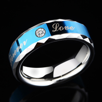 New Arrival 6mm Width Blue Tones Tungsten Couple Wedding Engagement Band Rings with Cubic Zirconia and Forever Love Size 7 11