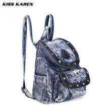 Поцелуй Karen Ковбой Мода Заклёпки деним свободного покроя женские Рюкзаки Джинсы Рюкзак Сумка Элегантный дизайн Сумки туристические рюкзаки