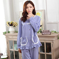 Conjuntos de pijama de algodão sleepwear feminino primavera outono longo-luva plus size 100% camisola
