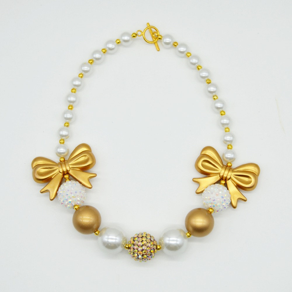Princess Gold Bow Chunky Necklace Girls Handmade Gold White Bubblegum Beads Necklace 2015 New Fashion Toddler Infant Jewelry