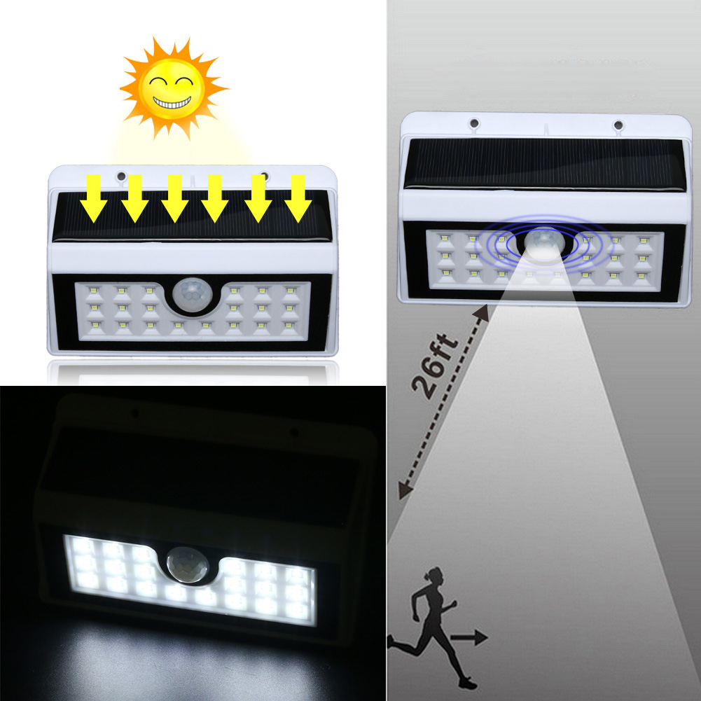 20 LED Waterproof PIR Motion Sensor Solar Power Outdoor Wall Light Pathway Corridor Street Darden Security Lamp White