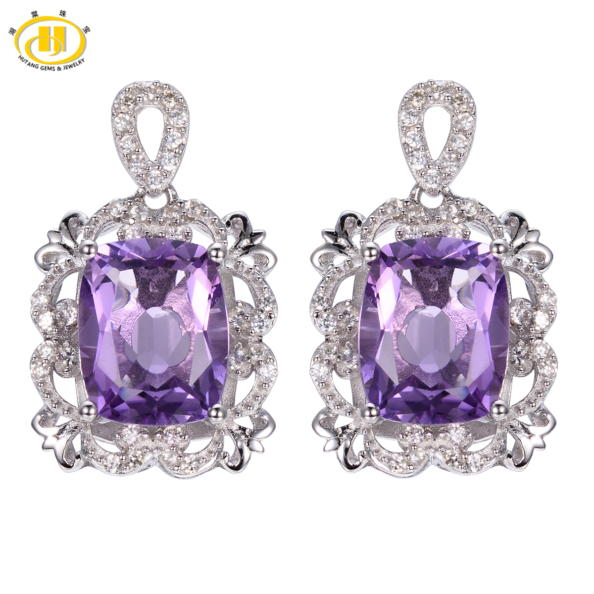 Hutang 6.08ct Amethyst Vintage Style Earrings Solid 925 Sterling Silver Fine Natural Gemstone Jewelry Women's Gift Party серьги висячие vintage style pentacle earrings