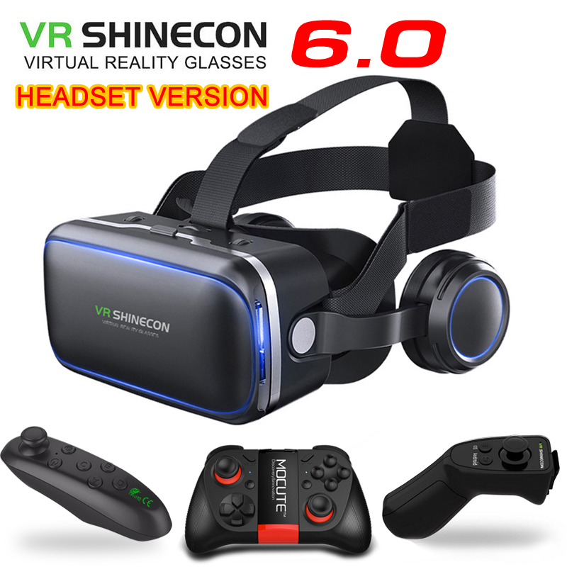 Shinecon 6.1 VR Virtual Reality 3D-Brille Google Karton VR-Headset-Box für 4,3-6,0 Zoll Smartphone Vollständiges Paket + Gamepad