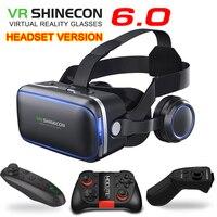 Vr shinecon 6.0 الإصدار الأصلي نظارات 3d نظارات الواقع الافتراضي سماعة الخوذ الهواتف الذكية حزمة كاملة + غمبد