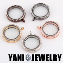 10pcs/lot Free Shipping Mix Colors 30mm Round Magnet Memory Photo Magnetic Glass Living Floating Locket With Rhinestones