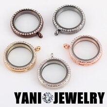 10 pçs/lote mix cores 30mm redondo memória foto vidro magnético vivendo flutuante medalhão com strass ajuste colar jóias