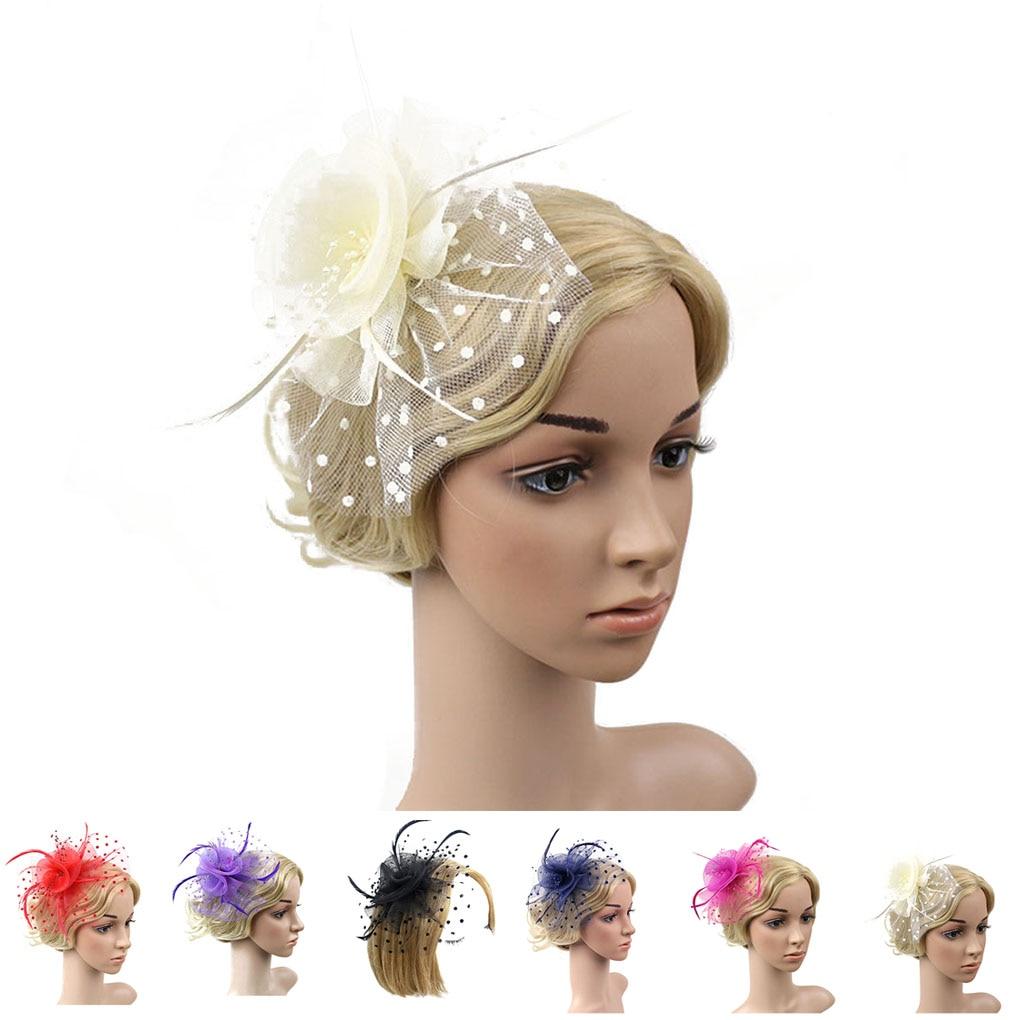 Work Well Women Flower Feather Net Hat Mini Hair Clip HairPin ...