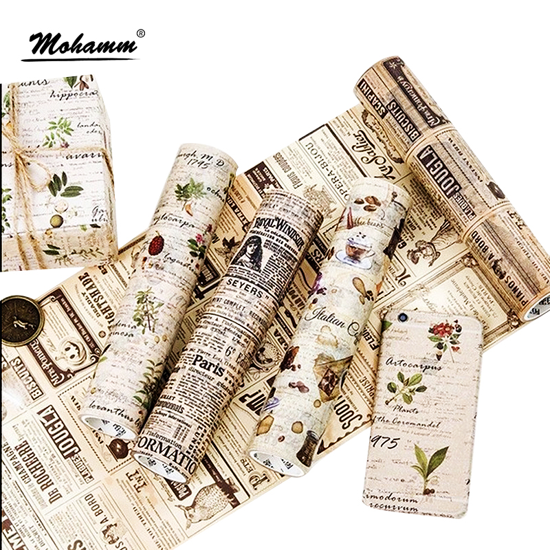 20cm Wide Cute Retro Newspaper Coffee Plants Paper Decorative Washi Tape DIY Scrapbooking Masking Tape School Office Supply 1 5cm 7m brief style blue series decorative washi tape scotch diy scrapbooking masking craft tape school office supply