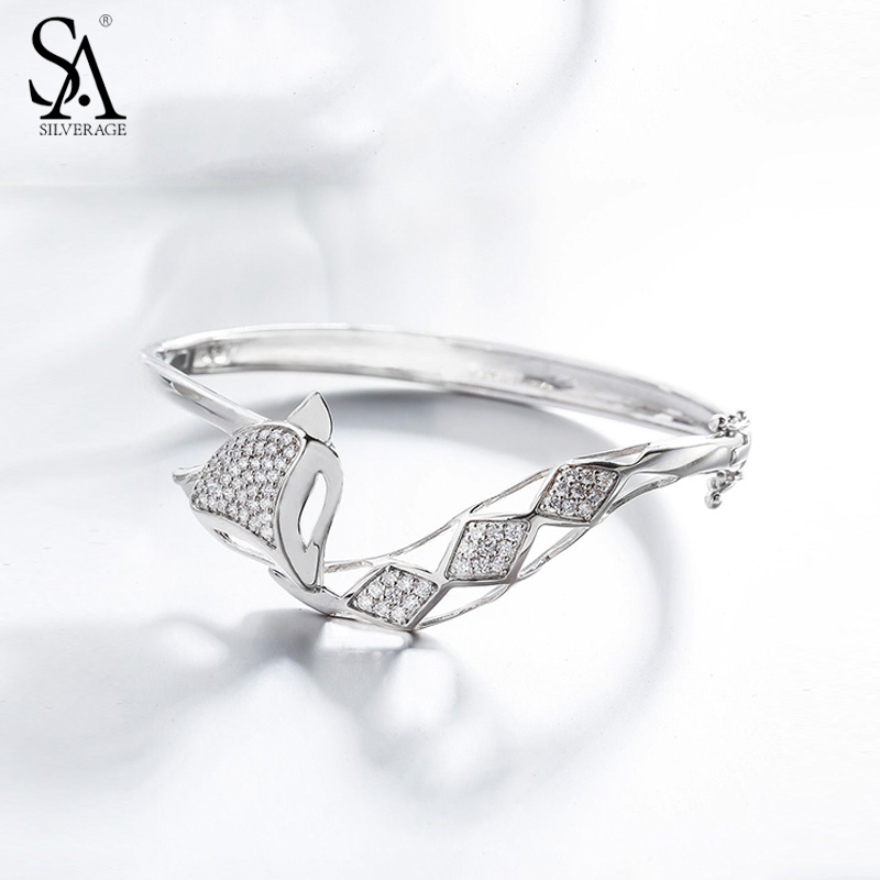 SA SILVERAGE 925 Sterling Silver Classic Fox Bangle Bracelet Women Sterling Silver Fine Jewelry 2017 New Bangles for Party