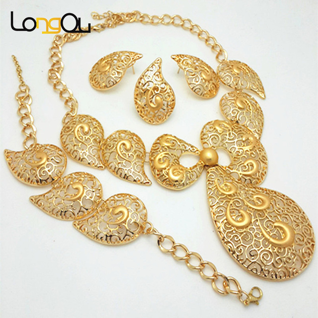 Wedding African Beads Jewelry Set Fashion Dubai Gold color Jewelry