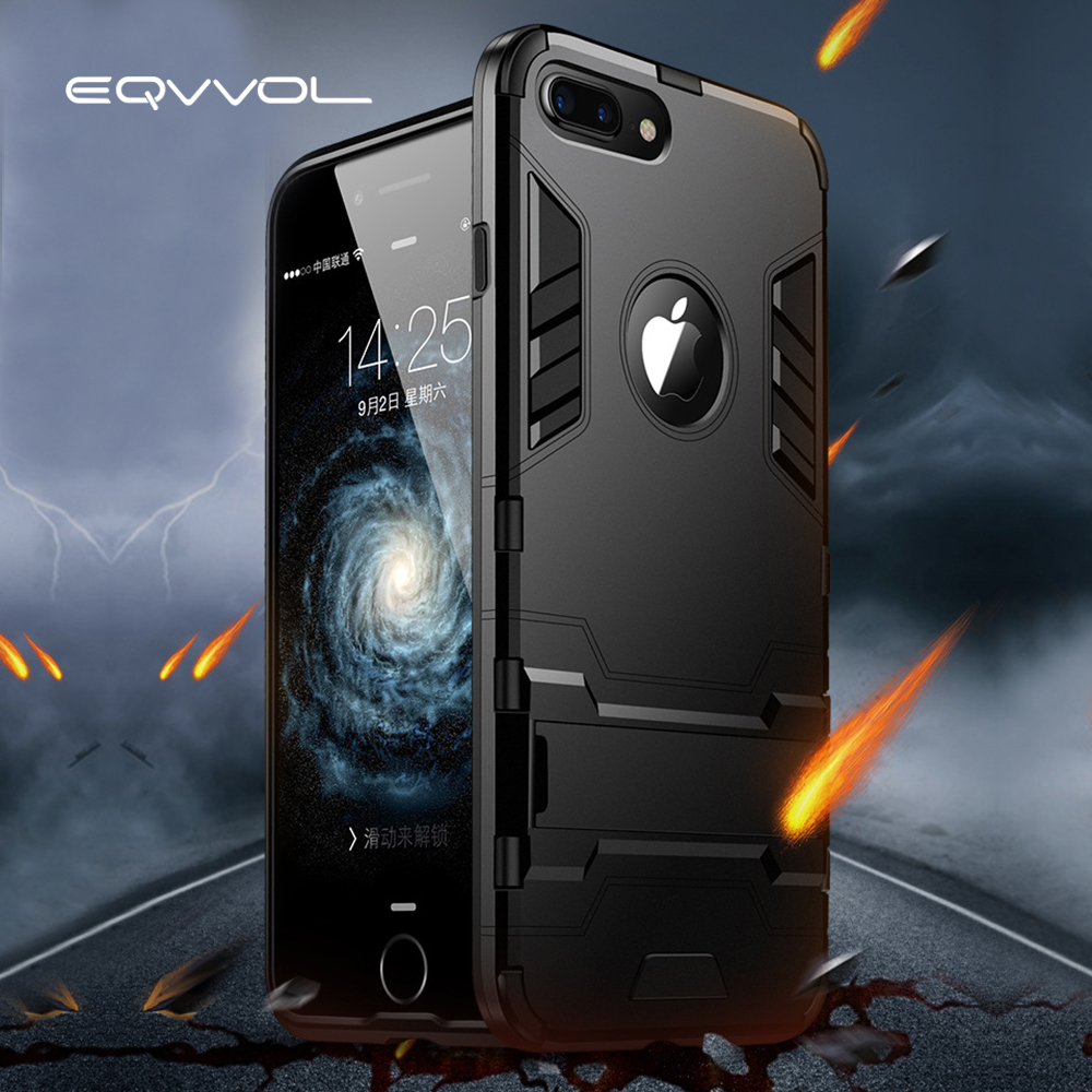 Eqvvol Shockproof Armor Phone Case For Apple iphone X 8 7 Plus Luxury TPU Protective Hard Cases For iphone 6 6s Plus 5 5s Coque