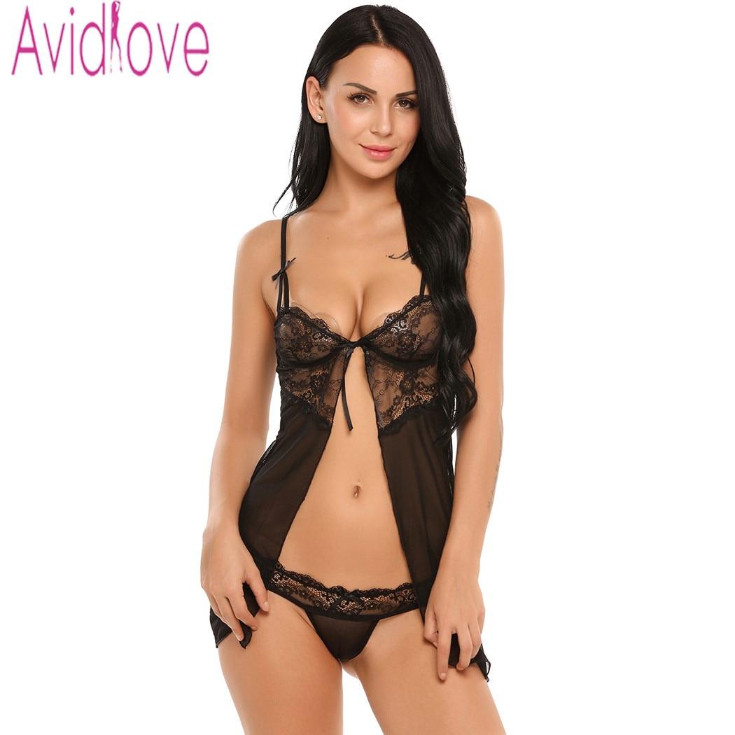 Avidlove Sexy Femmes Lingerie Fantaisie Sous-Vêtements Avec G-string Fitness Babydoll De Nuit Sexy Lingerie Chaude Sous-Vêtements de Dentelle
