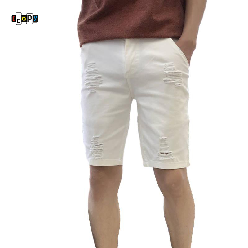 Idopy Classic Mens   Jean   Shorts White Black Ripped Slim Fit Ripped Distressed Summer Denim Shorts Pants For Male Plus Size 28-44