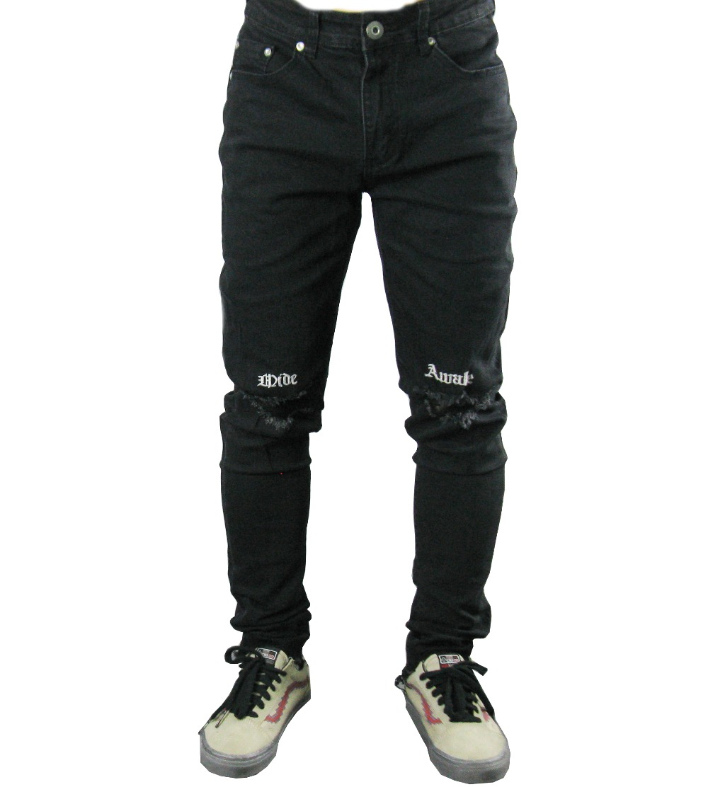 2018 New Fashion Hiphop Men Skinny Destroyed zippers slim fit cotton Denim ripped wash damage hole embroidery Black jeans