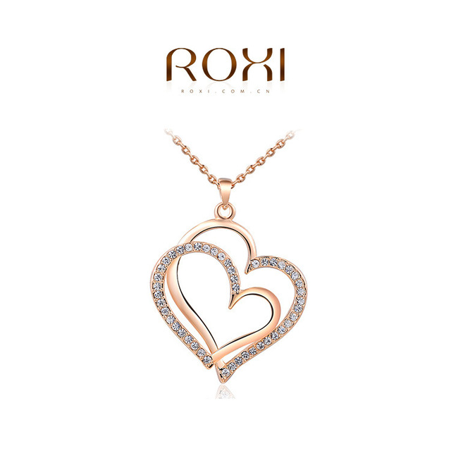 hot sale roxi18k real rose gold plated double heart necklacegenuine austrian fashion jewelry - Valentine Day Jewelry Sales