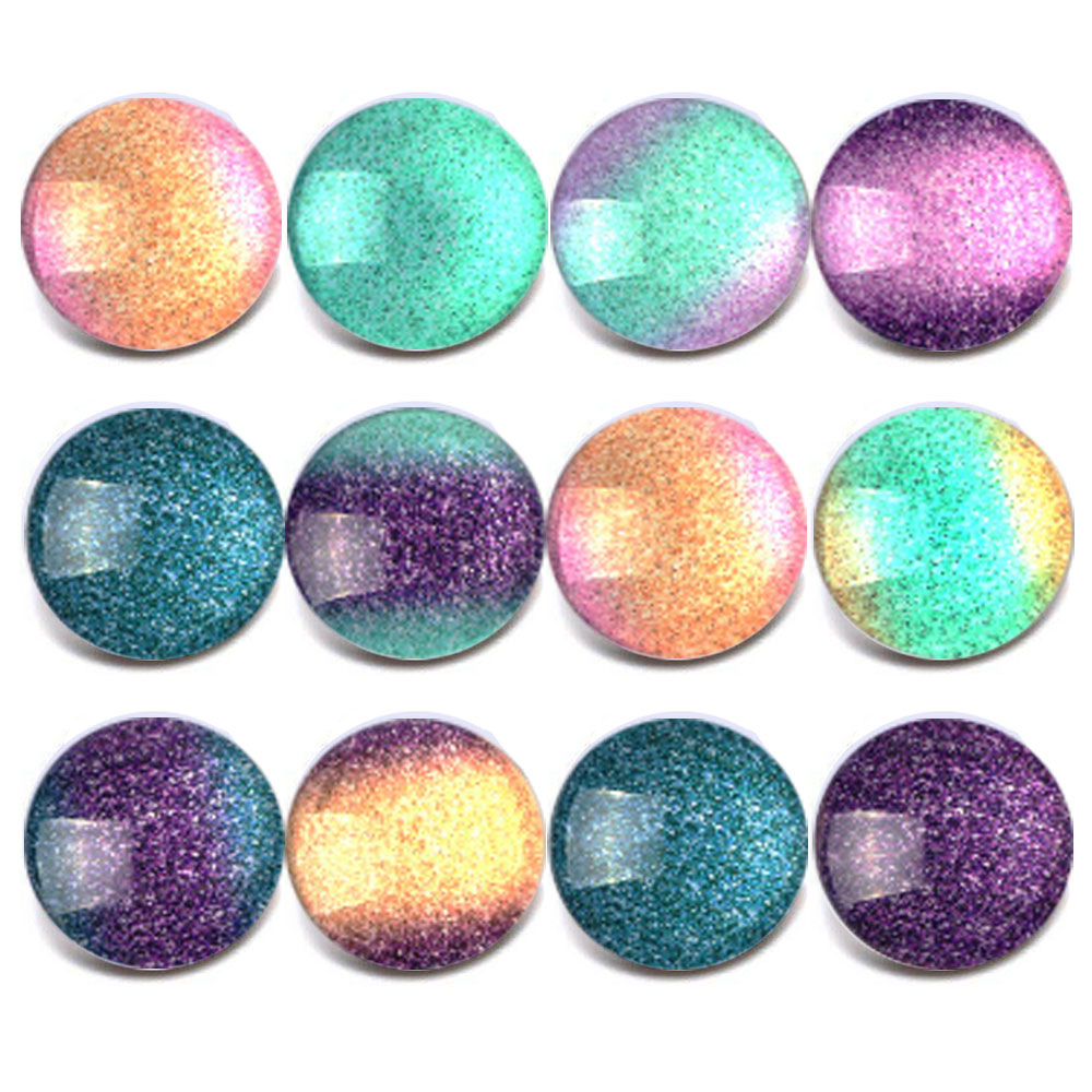 10pcs/lot New Mixed Snap Jewelry Colorful Shinny Glass Charms 18mm Snap Button Jewelry for 18mm Snaps Bracelet ZB312 image