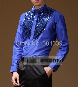 El envío libre de oro/negro/royal blue/red lentejuelas abalorios delante del collar del mens smoking camisetas camisas del partido/evento camisas