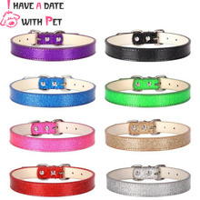 (1 piece) Bright Multi-color stitching Pu Leather Material Rhinestone Paw Ornaments Christmas Pet Dog Collar