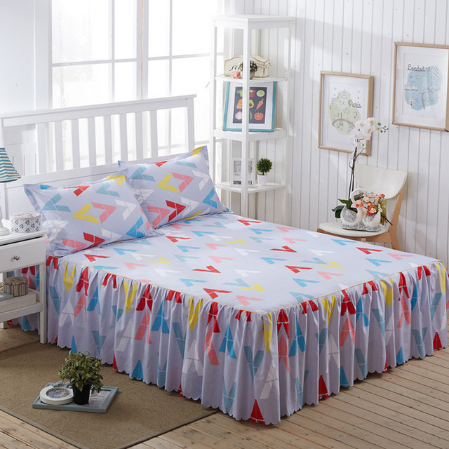 Geometric Bed Skirt 150x200cm Ruffle Bedspread Cotton Patchwork Bed