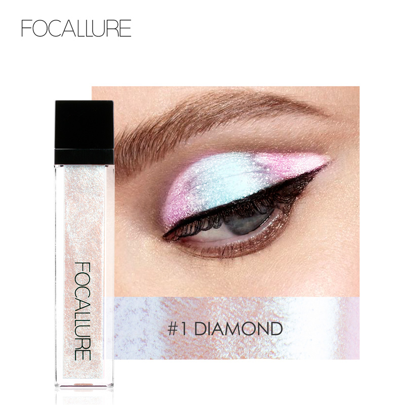 FOCALLURE 14 Colors Liquid Pigment Eyeshadow Ocean Light Waterproof Glitter Shimmer Highlighter Brighten Makeup Liquid Eyeshadow(China)