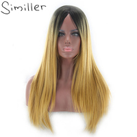 Similler Long Yellow Black Straight Wig With Bangs Brown Ombre Synthetic Hair High Temperature Fiber Cosplay For Women