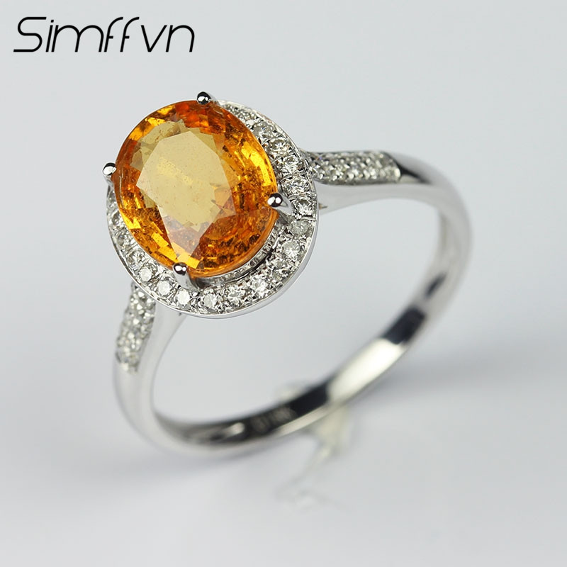 Simffvn 18K White Gold 2.21CT Yellow Sapphire Rings For Women Engagement Ring Gemstone Bridal Ring Accent Wedding