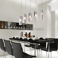 Free Shipping Stainless Steel 5 Light Mini Bar Pendant Light With K9 Crystal Ball Drop