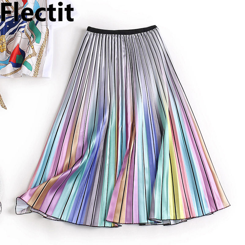 Flectit 2019 Harajuku Metallic Silver Multicolor Rainbow Stripe Printed Skirt Elastic Waist Pleated Skirt For Women Young Girl *
