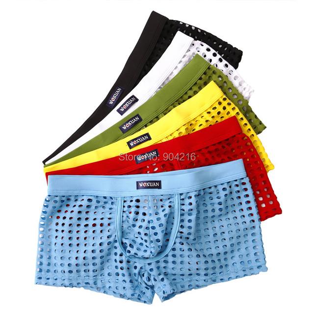 6 pcs malha dos homens sexy boxers underwear calções escavar sleepwear sexo bonito ver através de cuecas de alta qualidade livre grátis
