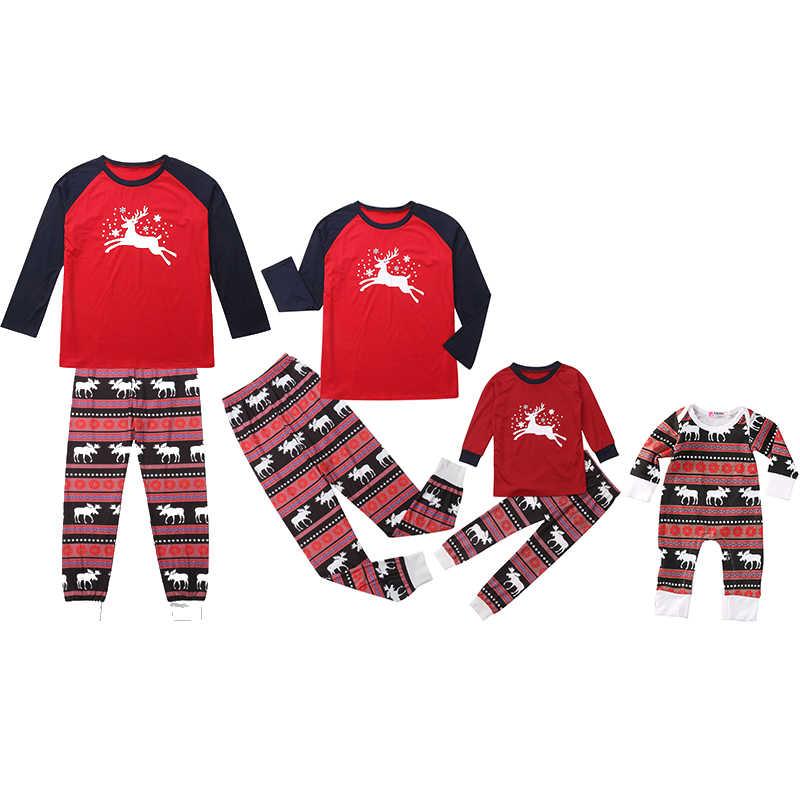 คริสต์มาสครอบครัวเสื้อผ้าชุดนอน PJs ชุด Xmas Santa เด็กใหม่ 2019 ชุดนอนชุดนอนแขนยาว T เสื้อกางเกงชุดเสื้อผ้า