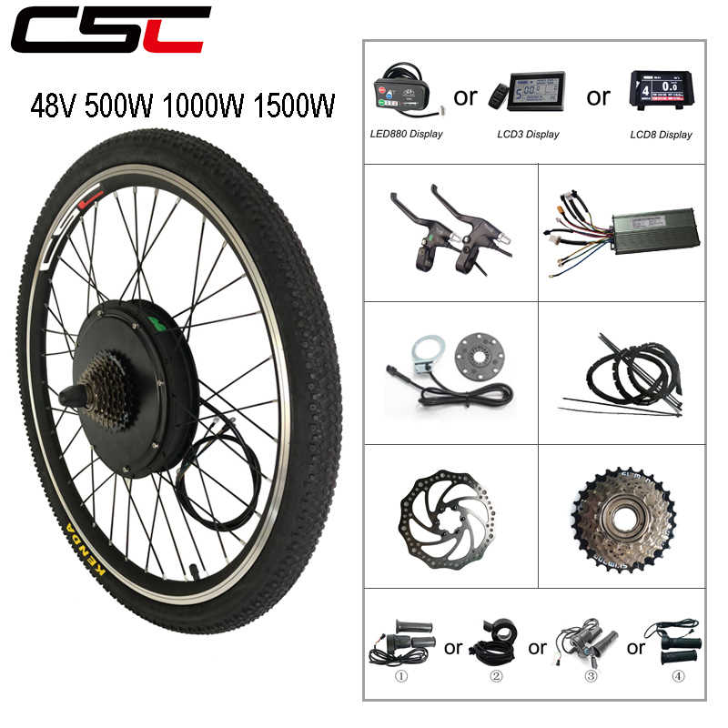 مجموعة تحويل الدراجة العاديّة إلى كهربائيّة 48 V 500 W 1000 W 1500 W ebike 20 24 26 27.5 28 29 بوصة 700C الجبهة الخلفية عجلة المحرك تجديد
