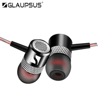 GLAUPSUS G1 Headset In Ear Piston Earphones Super Bass Stereo Headphones Metal Headset With Mic