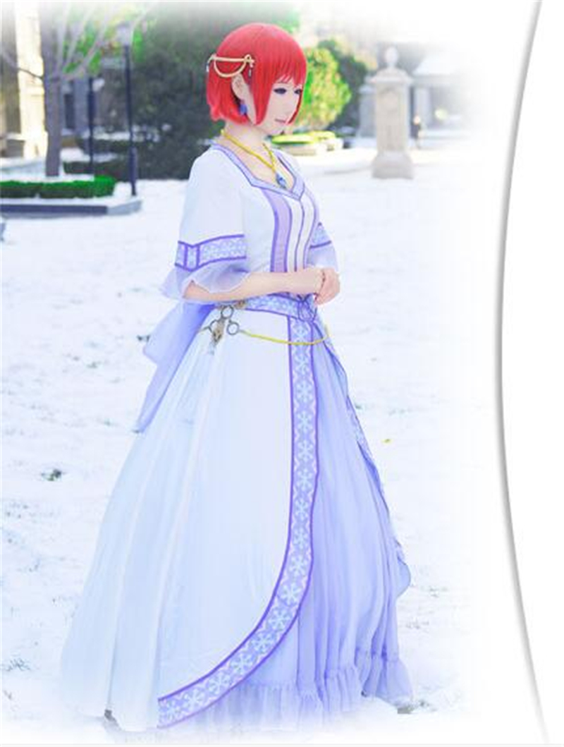 The Japanese Anime Snow White with the Red Hair Snow White Cosplay Costume Purple Princess Dress Z
