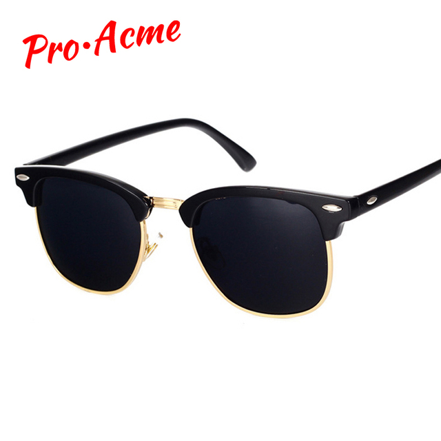 653d842e4 Pro Acme Clássico Marca Óculos Polarizados Homens Mulheres Metade De Metal  Espelho Óculos de Sol Óculos