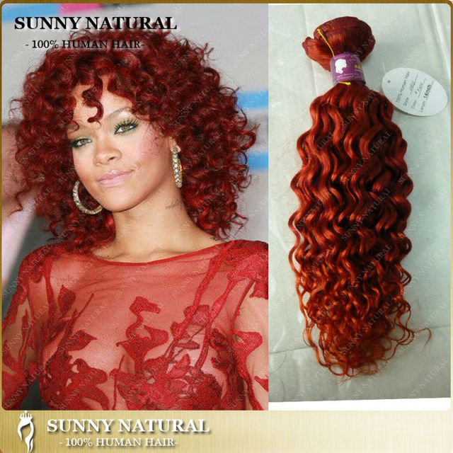 Rihanna Style Red Color Curly Brazilian Hair Extension Wholesale