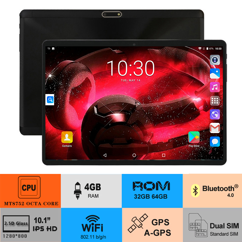"Free Shipping 10 Inch Tablet PC 4GB RAM 64GB ROM Octa Core 3G 4G LTE FDD Android 8.0 Tablets 10.1"" IPS 2.5D Tempered Glass(China)"