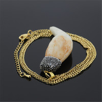 1 pc High quality old style teeth pendant paved rhinestones women necklace charm bone pendant necklace fine jewelry