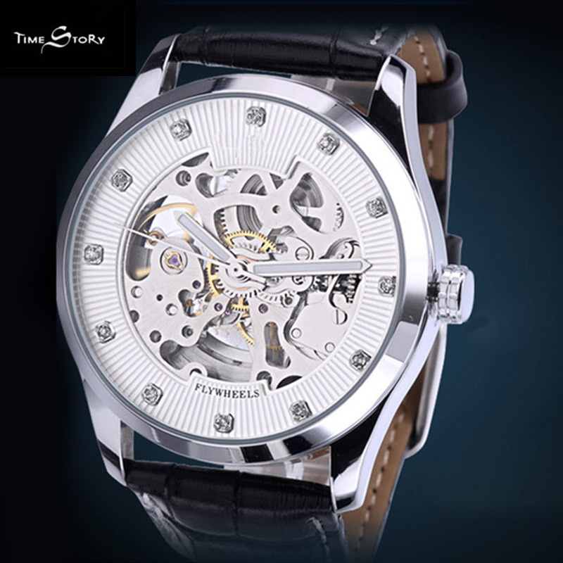 2016 Men s Watch Men Business Wrist Watches Automatic Self Wind Mechanical Hollow Watch Genuine Leather