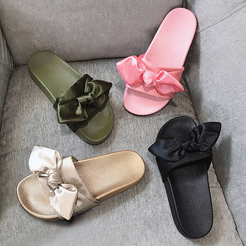Women Slippers Silk Bow Slides Summer Beach Shoes Woman No Fur Slippers Flat Heels Flip Flops Ladies Rihanna Bohemia Sandals цена