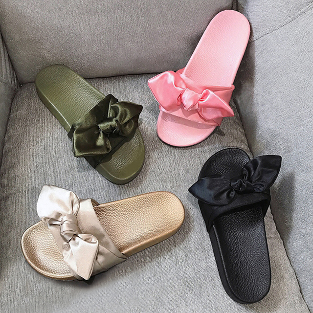 0a99fb12e66 Women Slippers Silk Bow Slides Summer Beach Shoes Woman No Fur Slippers  Flat Heels Flip Flops