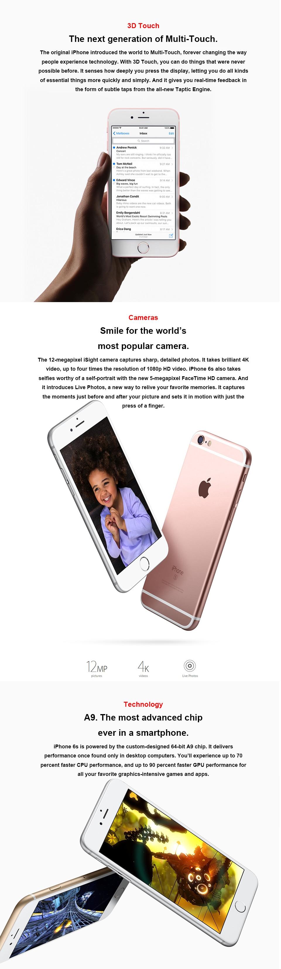 "HTB1UjqRgpooBKNjSZPhq6A2CXXam Original Apple iPhone 6s RAM 2GB 16GB ROM 64GB 128GB 4.7"" iOS Dual Core 12.0MP Camera fingerprint 4G LTE Unlocked Mobile Phone6s"