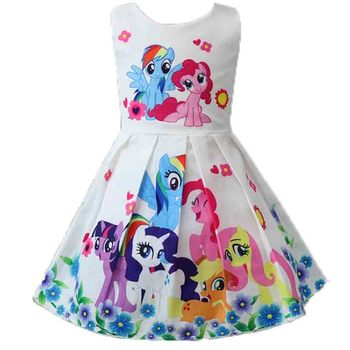 Spring and Summer My Princess Girl Print Dress Rainbow Pony  1