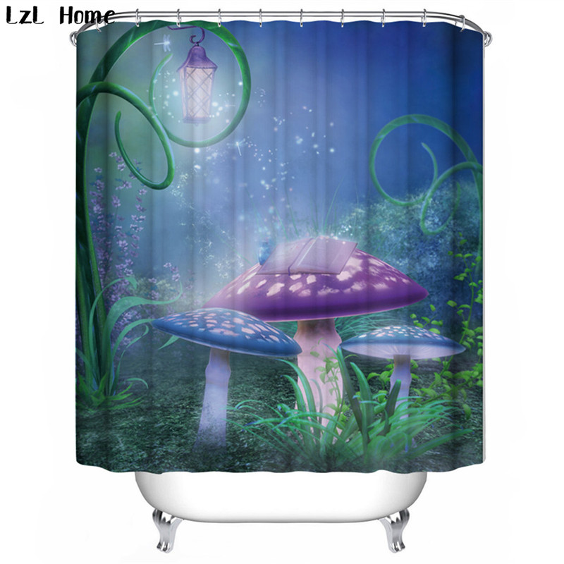LzL Home fairy tale world pattern 3d shower curtains fantasy style curtains for the bathroom waterproof eco-friendly bath decor