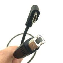 """50 ס""""מ מרפק בזווית USB C USB 3.1 סוג c סוג C זכר מחבר USB 2.0 B סוג זכר נתונים מדפסת כבל 0.5 m"""