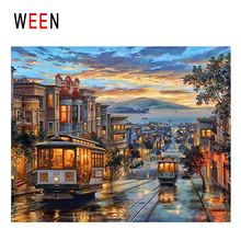 WEEN Dusk Town Diy Painting By Numbers Abstract City Bus Oil On Canvas Sea Cuadros Decoracion Acrylic Home Decor