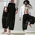 Men's Striped See Through Breathable Loose Bloomers Pant Wide Leg Fashion Brand Low Crotch Summer Culottes Pants 2016 New