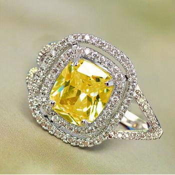 YaYI moda kobiety biżuteria pierścionek żółty CZ kolor srebrny pierścionki zaręczynowe obrączki ślubne pierścienie Party pierścionki prezent tanie i dobre opinie 14mm yayi jewelry Platinum plated Geometryczne Zespoły weselne Romantyczny Prong ustawianie Cyrkonia Zaręczyny HR292 Good Mood