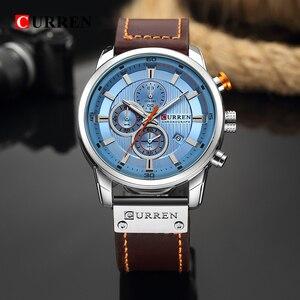 Image 5 - New Watches Men Luxury Brand CURREN Chronograph Men Sport Watches High Quality Leather Strap Quartz Wristwatch Relogio Masculino