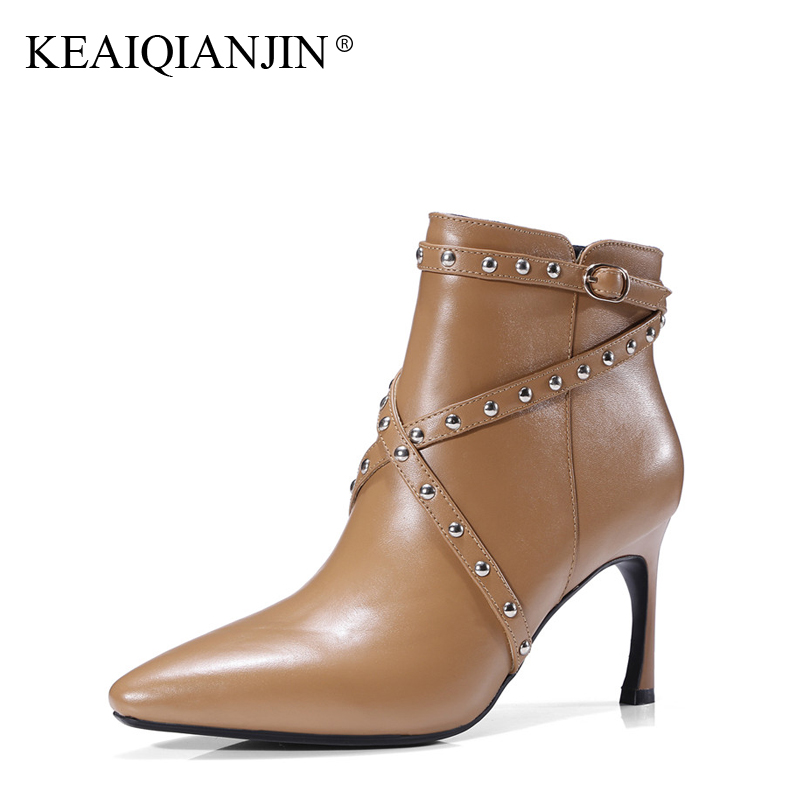 KEAIQIANJIN Woman High Heel Ankle Boots Autumn Winter Plus Size 33 - 43 Rivet Pointed Toe Shoes Genuine Leather High Heel Boots тюль kauffort штора на тесьме oriana 300х275см